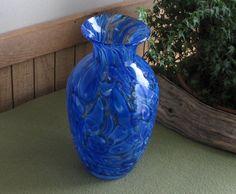 murano glass purse vases   Murano Blue Vase; swirling pools of cobalt blue and wedding white. Art ...