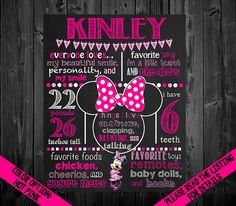 Minnie Mouse Birthday Chalkboard Poster by VickiTsCreations First Birthday Activities, First Birthday Board, 2nd Birthday Parties, Birthday Ideas, Girl Birthday, Turtle Birthday, Mickey Mouse Birthday, Minnie Mouse Party, Chalkboard Poster