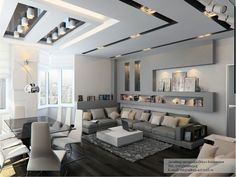 Grey tone living room with contemporary cutaways on the ceiling adds modern character. All it needs now is a big TV :)