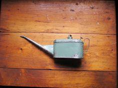Vintage Metal Oil Can  Cambridge Blue Color  Industrial by OldBox, $15.00