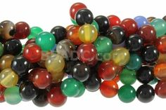 "Mix Agate 10mm Round Beads 16"" - 10mm Round Beads"