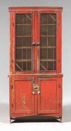 I guess since I live in TN I love Tennessee pieces like this Greene County TN Red Painted Cupboard