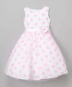 Look at this #zulilyfind! White & Pink Polka Dot A-Line Dress - Infant, Toddler & Girls #zulilyfinds