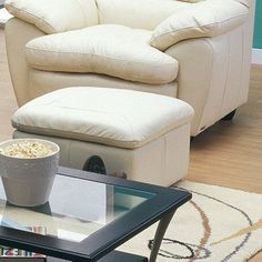 Palliser Furniture Harley Ottoman Finish: Bonded Leather - Champion Alabaster, Upholstery: All Leather Protected - Tulsa II Chalk