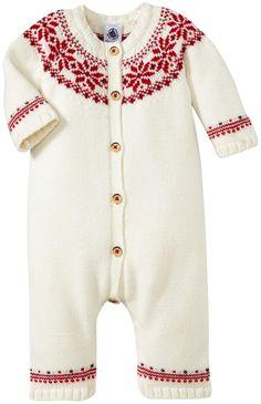 Petit Bateau Unisex-Baby Newborn Knit Jacquard Print Romper, White/Red, 3 Months