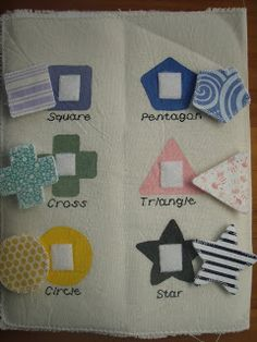 Crafty Mum NZ: Quiet book - page 3: Shapes--such cute fabrics and matching the colors with solids and prints is awesome.