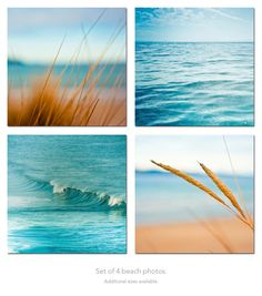 Ocean Photography print set nautical decor beach photography surf photos waves 5x5 inch blue teal wall art sand summer macro photo. $39.00, via Etsy.
