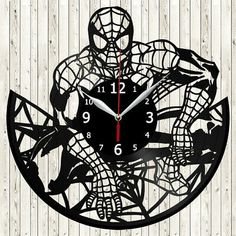 Spiderman Vinyl Record Wall Clock Home Fan Art Decor 30 cm 5852 Records Diy, Old Vinyl Records, Spiderman, Batman, Clock Decor, Art Decor, House Fan, Record Wall, Scroll Saw Patterns