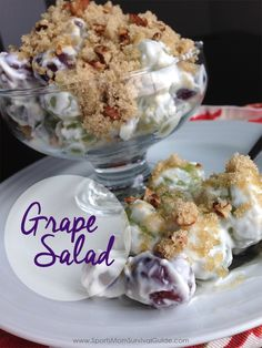 Everyone will ask you for this delicious Grape Salad recipe. Easy to make ahead for a big or small crowd!°° (camping desserts make ahead) Köstliche Desserts, Delicious Desserts, Yummy Food, Tasty, Camping Desserts, Summer Desserts, Fruit Recipes, Dessert Recipes, Cooking Recipes
