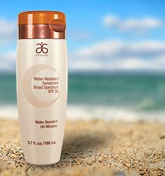 Arbonne Water-Resistant Sunscreen Broad Spectrum SPF 30  gives broad spectrum sunburn protection for 40 minutes, even during water activity. #ArbonnePureSummer #vegan