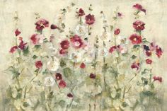 'Hollyhocks' Row Cool by Cheri Blum Painting Print on Wrapped Canvas