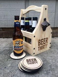 BEER THIRTY bottle holder from Hoffmaster Woodworks - What time is it? Take your tailgate wedding picnic or party to the next level with a beautifully crafted rustic wooden beer caddy! Wooden Beer Caddy, Wood Projects, Woodworking Projects, Outdoor Picnic Tables, Mounted Bottle Opener, Wine Table, Beer Gifts, Bottle Holders, Wood Crafts