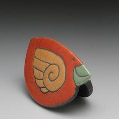 Ceramic Bird, Red Orange, Raku Rocking bird,Whimsical Sculpture,home decor