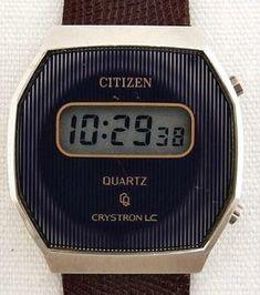 Citizen Crystron LC wrist watch (1984) Retro Watches, Watches For Men, Men's Watches, Radios, Old Computers, Citizen Watch, Digital Alarm Clock, Digital Watch, 1980s