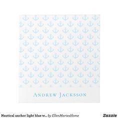 Nautical anchor light blue white monogram notepad Nautical Anchor, Custom Notebooks, Colour Images, Page Design, Create Yourself, Light Blue, Blue And White, Monogram, Notes