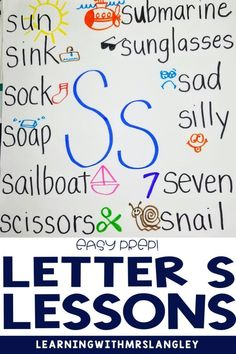 Your preschool students and kindergarten students will enjoy these alphabet lessons. Teach letter recognition and letter sound correspondence by immersing your students in a letter of the day or letter of the week. Book connections, center activities, independent, small group and whole group lessons are all included with detailed lesson plans. Teaching Letters, Teaching Grammar, Alphabet Book, Learning The Alphabet, Kindergarten Centers, Kindergarten Classroom, Word Work Centers, Letter Identification, First Grade Classroom