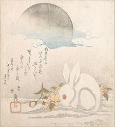 Moon; White Hare in Snow Taisosai Hokushu (Japanese, 18th–19th century) Period: Edo period (1615–1868) Date: probably 1819 Culture: Japan Medium: Polychrome woodblock print (surimono); ink and color on paper