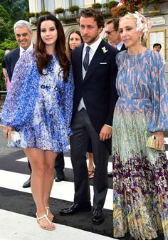 Lana Del Rey, Francesco Carrozzini and Franca Sozzani at the wedding of Pierre Casiraghi and Beatrice Borromeo in Stresa, Italy #LDR