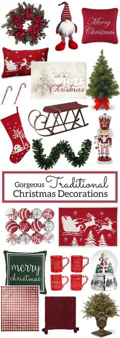 A Brick Home: Traditional Christmas Decorations, Christmas Decorations, Classic Christmas Decorations, Red and White Christmas, Christmas Decorations for the Home, Christmas decor ideas