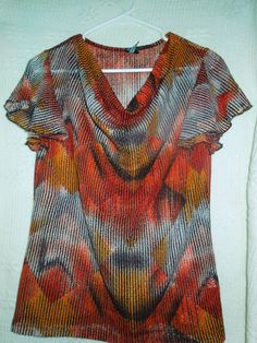 $6.99 FREE SHIPPING Allie & Rob Ladie's Woman's SZ Med. blouse top sheer multicolor short sleeve