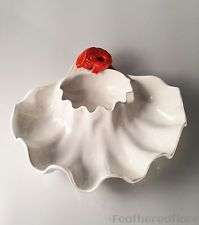 VIntage Glazed Pottery Serving Dish Crawfish Oyster Shell Platter Metlox