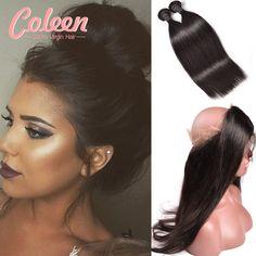 Top 360 Kant Frontale Met Bundel Peruaanse Straight Virgin Hair met 360 Kant Frontale Sluiting Met Bundels Menselijk Haar 360 frontale