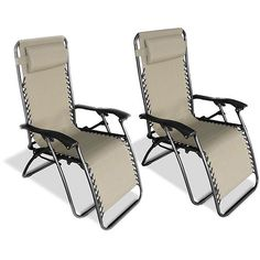 This set of two beige Zero Gravity chairs are the ultimate in relaxation. An adjustable headrest makes these indoor or outdoor chairs comfortable and customizable, while the sturdy steel frame and long-lasting fabric ensures years of pleasure.