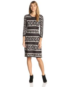 Long-Sleeve Printed Sweater Dress by Anne Klein