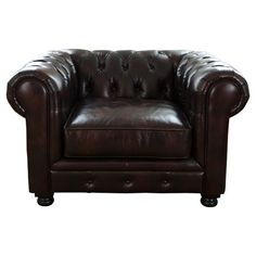 Bring a touch of stately style to your living room or parlor with this handsome leather arm chair, showcasing rolled arms and button-tufted accents.