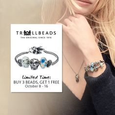 This weekend is your last chance to stock up on Trollbeads. Today is the last day to get 1 FREE Bead after buying 3 Trollbeads. We have a bunch of different themes for beads including Autumn and Halloween! Magic Charms, Swarovski Crystals, Autumn, Beads, Halloween, Free, Jewelry, Beading, Jewlery