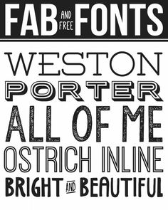 It's been a bit too long since I've shared some fab fonts with you guys. So, here's a handful of free fonts for you to add to your collection…. weston :: porter sans :: kg all of me :: ostrich sans inline :: bright and beautiful Just click on the links above to be taken to these free …