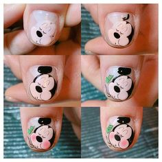 Best 50 mickey and minnie mouse nail designs Cartoon Nail Designs, Nail Designs 2017, Cute Nail Designs, Love Nails, Pretty Nails, Fun Nails, Minnie Mouse Nail Art, Animal Nail Art, Painted Nail Art