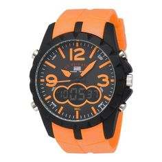 U.S. Polo Assn. Mens US9057 Analog-Digital Black Dial Orange Rubber Strap Watch: