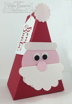 Stampin' Up! Cutie Pie Die made into a Santa Box! So easy with a little punch art! Stamp With Kim Australia