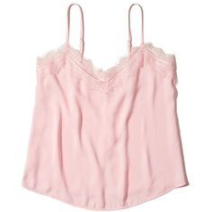 Hollister Button-Back Lace-Trim Satin Cami (56 ILS) ❤ liked on Polyvore featuring intimates, camis, pink, lace trim cami, lace trim camisole, pink camisole, pink cami and satin camisole