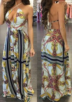 97a20aa963 Casual Apricot Flowers Print Halter Neck Tie Back Bohemian Beach Maxi Dress