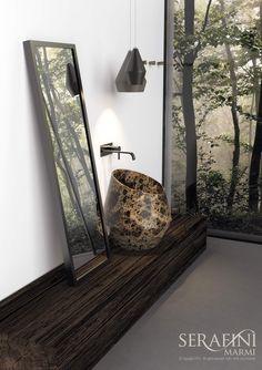 Marmi Serafini - NEW Opera COLELCTION - TOSCA countertop washbasin | emperador brown marble | #bathroom #design #marble | www.marmiserafini.it
