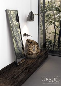 Marmi Serafini - NEW Opera COLELCTION - TOSCA countertop washbasin | emperador brown marble | #bathroom #design #marble | www.marmiserafini.it