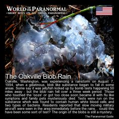 The Oakville Blob Rain   - Oakville, Washington.   'World of the Paranormal' are short bite sized posts covering paranormal locations, events, personalities and objects from all across the globe.   (Note: the photo used is not of the blob rain itself but rather a photo used that is said to resemble the substance)   The Paranormal Guide for all things paranormal, strange, dark and macabre: http://www.theparanormalguide.com/blog