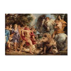 Peter Paul Rubens 'The Calydonian Boar Hunt' Canvas Art