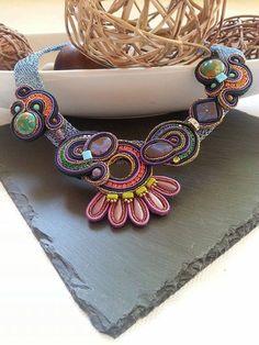 Soutache Halskette mit echte australische Blau Lila von BeadStArt
