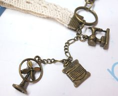 Vintage Sewing Keychain with lace stripe by AccessoriesG on Etsy, $4.80