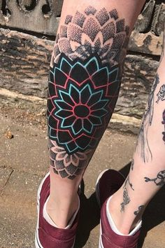 Neon mandala done today! This one was a cover… Mandala Tattoo – Fashion Tattoos Mandala Arm Tattoo, Mandala Tattoo Design, Colorful Mandala Tattoo, Watercolor Mandala, Elbow Tattoos, Sleeve Tattoos, Tattoos For Women, Tattoos For Guys, Widder Tattoo