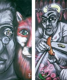 there are no significant differences 2 (left), we are the pride of creation (right).Rolland Straller #vegan #art