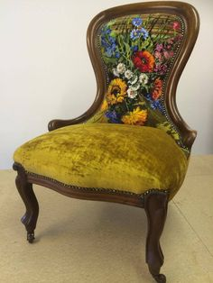 Victorian balloon back salon chair reupholstered in a vintage floral tapestry on the inside back, and a J Brown gold velvet on the seat.