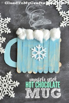 Popsicle Stick Hot Chocolate Mug Kids Craft. Keep the kids entertained during winter break and snow days with fun and simple craft ideas!