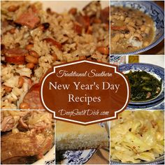 Traditional Southern New Year's Day Recipes, from Deep South Dish ~ black-eyed peas, hoppin' john, black-eyed pea jambalaya, different kinds of greens, six pork recipes, & cornbread