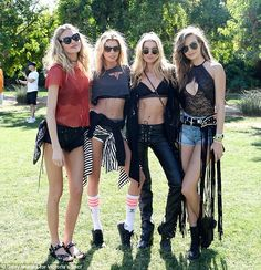With her posse: Hosk with (from left) Martha Hunt, Stella Maxwell and (far right) Josephin...