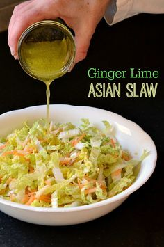 Ginger Lime Asian Slaw by realfoodrealdeals: Made with Napa cabbage, crrots, apples lime juice, ginger, honey, and rice vinegar for a refreshing and healthy sweet and sour flavor. #Salad #Asian_Slaw #Healthy