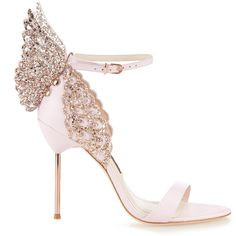Sophia Webster Evangeline glitter angel-wing sandals ($660) ❤ liked on Polyvore featuring shoes, sandals, heels, light pink, sophia webster shoes, light pink sandals, stiletto high heel shoes, stiletto sandals and angel wing sandals